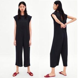 Zara Black Oversized Ribbed Cropped Jumpsuit